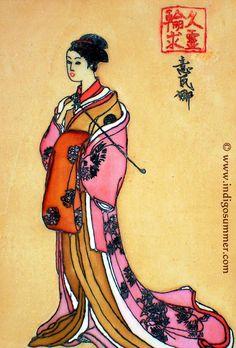 Ink stamp geisha