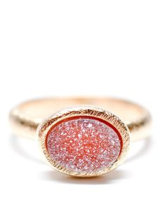 Geo Drusy Ring by Leif. It's like pink stardust! I'd love to watch this sparkle daily.