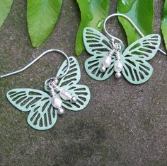 Lacy Butterfly and Freshwater Pearl Earrings / by TuppersPerch, $16.50