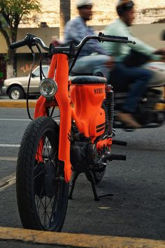 Honda Scooters, Honda Bikes, Honda Cub, Bobber Motorcycle, Motorcycle Outfit, Custom Motorcycles, Custom Bikes, Moped Scooter, Mini Bike