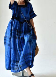 Blue plaid Linen dress for women, linen dress with pockets, Summer linen Long dress Round Collar Shirt, Summer Dresses For Women, Blue Plaid, Blouses For Women, Dresser, Plaid Dress, Women's Fashion, Ladies Fashion, Spring Fashion