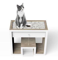 Cat's Cradle: Laminated wood activity center with toy storage drawer and upholstered foam bed.  James Owen Design  #design #industrialdesign #productdesign #furniture #furnituredesign #interior #visual #wood #cats #cattoys #pets  #designlife #designer #technique #vision #productdevelopment #wood #pet #cat #minimal #minimalism