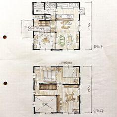 『32坪の間取り』 1階の玄関横にフリーの土間スペースを設けています。 間取り。間取り。あ〜間取り。 #間取り図#間取り図公開#32坪の間取り#四角い家の間取り#箱型の家#間取り#土間のある家#玄関前のトイレ#フリースペース#家づくり#新築計画#マイホーム#ライフスタイル#自由設計#設計図#スケッチ#ラフプラン