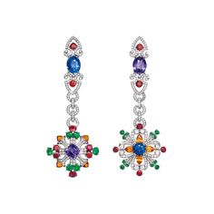 Giampiero Bodino Rosa dei Venti earrings set with a 2.37ct violet sapphire from Madagascar and a 3.61ct blue sapphire from Sri Lanka (POA).