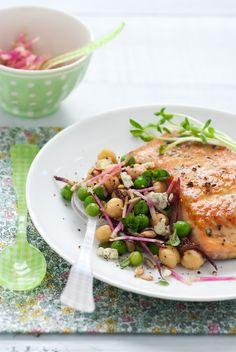 Dijon Glazed Salmon & Sweet Pea Salad - gluten free #salmon #healthy_recipes #gluten_free_recipes