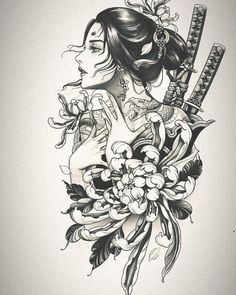 Tatoo Geisha, Geisha Tattoo Design, Japan Tattoo Design, Geisha Tattoos, Japanese Tattoo Designs, Japanese Tattoo Art, Japanese Sleeve Tattoos, Tattoo Design Drawings, Anime Tattoos