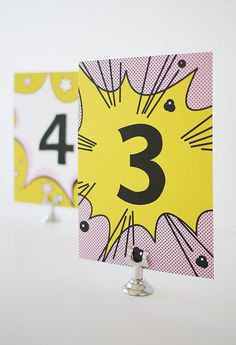 Fun Comic Table Cards Printable by 3EggsDesign on Etsy