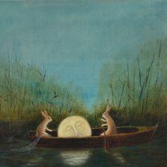 """Tier Gemälde: """"die Träumende Moon"""""""