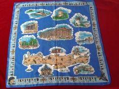 Souvenir from Greece Blue Scarf, ge kei, 26 Square, Pre-Owned, Crete, Miconos,   #gekei #Scarf