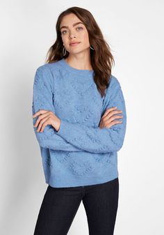 Open Your Heart Textured Sweater - Fashion has always been the way to your heart and this blue sweater holds the key! Soft, popcorn-knitted hearts playfully adorn this pullover, while a crew neck and long sleeves round out its classic features. Plus Size Sweaters, Long Sweaters, Blue Sweaters, Sweaters For Women, Knitted Heart, Pullover, Sweater Coats, Trendy Tops, Striped Knit