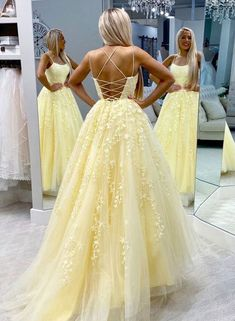 Yellow Lace Prom Dress Backless, Evening Dress ,Winter Formal Dress, Pageant Dance Dresses, Graduation School Party Go / friday dresses in new fashion Pretty Prom Dresses, Hoco Dresses, Backless Prom Dresses, Tulle Prom Dress, Pageant Dresses, Tulle Lace, Yellow Prom Dresses, Dress Lace, Pastel Prom Dress