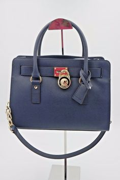 10834803bdb363 Michael Kors Hamilton Navy Blue Saffiano Leather East West Medium Satchel  Bag #MichaelKors #Satchel