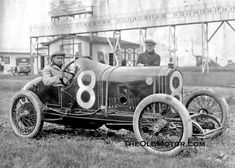Bob Burman, a famous driver in his Peugeot #8 (finished sixth), Indianapolis for the 1915 race.