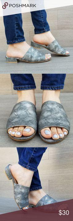 0ce2ee1131 Slip On Loafer Metallic Black Spring Sandal Spring Summer Slip on Sandal  with a snake