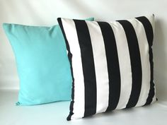 Add some class with stunning black stripes and Tiffany Blue! Black Aqua Pillow Cover Set 18 x 18 Set of Two by PillowStyles