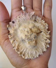 Bali Pendant Necklace LION Head F/r Deer Antler Carving w/ Silver 925_u539 in Antiques, Asian Antiques, Southeast Asia | eBay