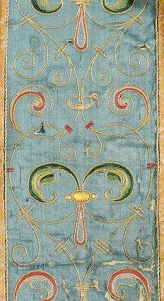 Cape late 16th century Spanish silk metal thread