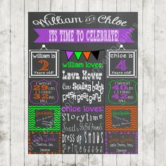 Chalkboard Birthday Sign - TWINS or SIBLINGS!