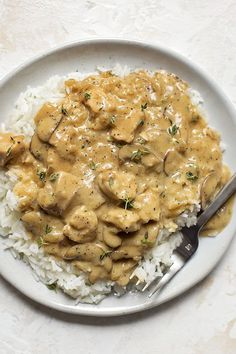 Chicken Stroganoff – Over Rice - Chicken Recipes Chicken Stroganoff, Stroganoff Recipe, Healthy Cooking, Cooking Recipes, Healthy Recipes, Cooking Pork, Tostadas, Pasta, Chicken Over Rice