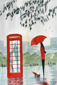 Original Signed Watercolour Painting ~ Rainy Day, Waiting ~ By KJ CARR