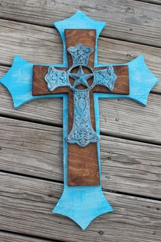 Western Decor Stacked Wood & Metal Decorative Cross Turquoise Handcrafted
