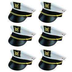 2 Pk Skipper Hat Sailo... Nautical Hats Funny Party Hats White Sailor Hats