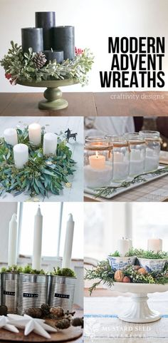 17 Modern Advent Wreath Ideas that are Beautiful and Meaningful! New takes on the traditional Advent Wreath. Celebrate Christmas with a new tradition and make your own DIY Advent wreath. Modern Christmas, All Things Christmas, Christmas Home, Handmade Christmas, Christmas Holidays, Christmas Crafts, Christmas Decorations, Christmas Tables, Nordic Christmas