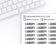 Laundry printed script stickers: laundry, typography, printed script, black and white, word stickers Mini Hands, Beautiful Fonts, Weekly Planner, Planner Stickers, Hand Lettering, Script, How To Draw Hands, Etsy Seller, Laundry
