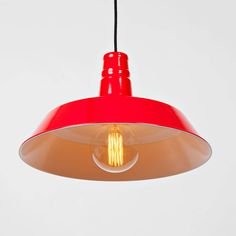 Modern Farmhouse Hanging Pendant with vintage Edison Bulb, Red Gloss enamel finish industrial vintage retro inspiration lighting fixture.