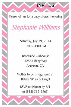 CHEVRON BABY SHOWER INVITATION- TO FOLLOW ME ON FB PLEASE CLICK ON THE PHOTO TWICE