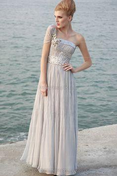 A-line One Shoulder Chiffon Floor-length Silver Sequins Evening Dress