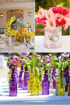 .could even do with multi colored bottles and white flowers.....