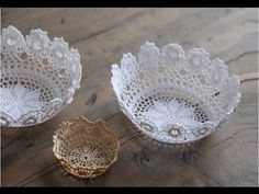 Want to make something creative with crochet? You can use the doilies with bowls to make these simple yet Creative DIY Lace Bowls for Home Decor. Diy Lace Doily Bowl, Lace Doilies, Crochet Doilies, Framed Doilies, Crochet Diy, Fun Crafts, Arts And Crafts, Doilies Crafts, Pot A Crayon