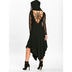 Halloween Spider Web Handkerchief Flowy Dress (€19) ❤ liked on Polyvore featuring costumes, spider web costume, white halloween costumes, spider web halloween costume and white costumes