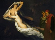 Ary Scheffer - Francesca da Rimini en Paolo Malatesta aanschouwd door Dante en Vergilius 1854.jpg