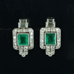 A pair of art deco emerald and diamond earrings, circa 1925