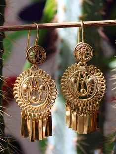 0496b9a8a267 Traditional Hand Made Brass Filigree Earrings from Oaxaca Mexican Folk Art  Frida