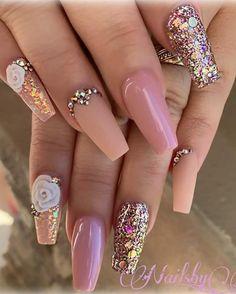Amazing Wedding Nails Designs For Bride - Nail Art Connect Elegant Nail Designs, Beautiful Nail Designs, Nail Art Designs, Sparkle Nails, Pink Nails, My Nails, Nail Bling, Classy Nails, Cute Nails