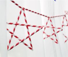 Straws and twine come together to create a stunning string of stars.