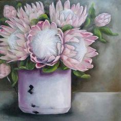 New Protea Art, Flower Art, Art Flowers, Cow Art, Acrylic Art, Decoupage, Floral Wreath, My Arts, Sketches