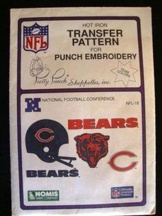 Vintage Chicago Bears Football Transfer Pattern Embroidery $7.99  DA BEARS!