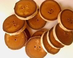 12 White Birch Wood Buttons-Wood Button