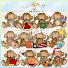Calendar Monkeys 1 - NE Cheryl Seslar Clip Art