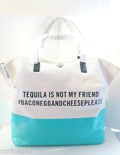 "Kate Spade Call to Action ""Tequila Is not My Friend"" Terry Tote PXRU3872 
