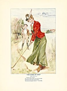 """The Game of Golf,"" one of 8 color illustrations from Twentieth Century Etiquette (1900).  Available at uncannyartist.com/products/illustrations-etiquette"