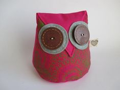 Your place to buy and sell all things handmade Whale Pattern, Doorstop, Door Stopper, Owl Patterns, Pink Owl, Bright Pink, Making Out, Stitching, Cotton Fabric
