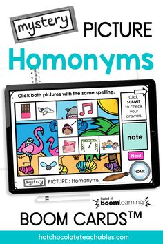 Do your students need practice identifying words with multiple meanings? This digital HOMONYM practice Boom Card™ set is a fun way to help with vocabulary words with more than one meaning. This hidden picture reveal activity has a mystery picture and WORD that needs to be matched with two homonym pictures. Students are asked to click the correct images. English Vocabulary Games, Grammar And Vocabulary, Teacher Must Haves, Multiple Meaning Words, Classroom Language, Thats The Way, Guided Reading, Teaching English, Phonics