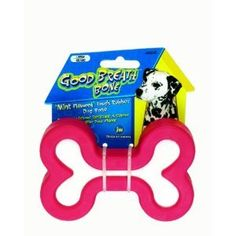 $4.99-$4.68 JW Pet Company Good Breath Bone Dog Toy, Small (Colors Vary) - The Good Breath Dog Bone Small is a natural solid rubber bone infused with a strong minty flavor! Chewing massages gums and enhances dental health, now it freshens breath too! The Good Breath Bone comes in two colors, red & green. This small size is great for teething puppies and small breed dogs. http://www.amazon.com/dp/B0018TAYYO/?tag=pin2pet-20