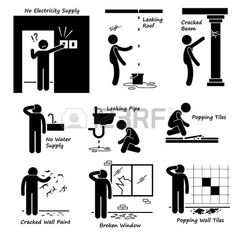 Broken House Old Building Problems Stick Figure Pictogram Icons photo