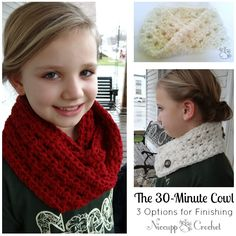 The 30 Minute Cowl - Free Crochet Pattern with 3 Options for Finishing #NiccuppCrochet #30MinutePattern